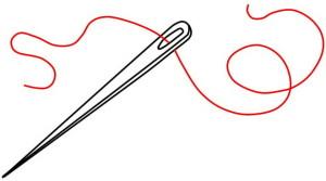 Иголка с красной ниткой, рисунок