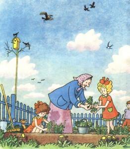 Девочки с бабушкой в огороде