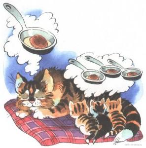 Картинка спящей кошки и котят и им снится сон