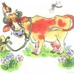 Корова плачет на лугу