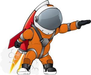 Космонавт в оранжевом скафандре, рисунок на белом фоне