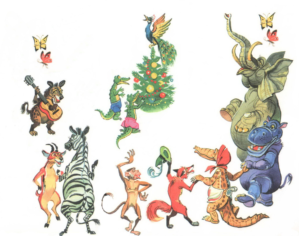 Животные танцуют вокруг елки