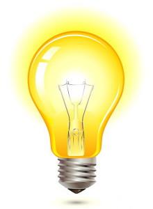 горящая желтым цветом лампочка