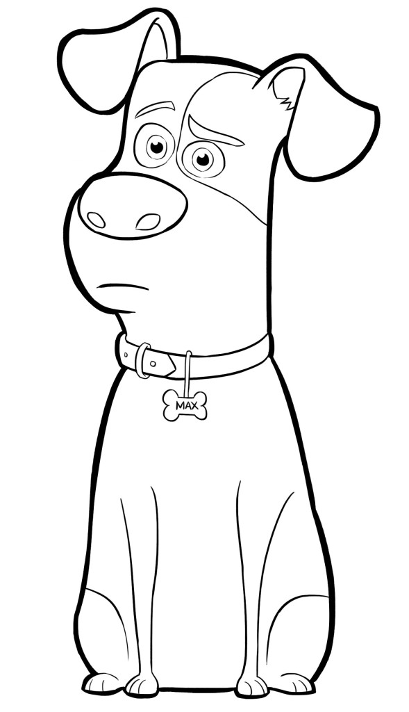 Раскраска с Максом из Тайной жизни домашних животных