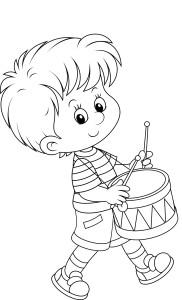 Мальчик барабанит, раскраска