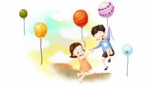 Мальчик, девочка, воздушные шары, небе, счастье