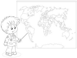 Мальчик показывает на карте раскраска