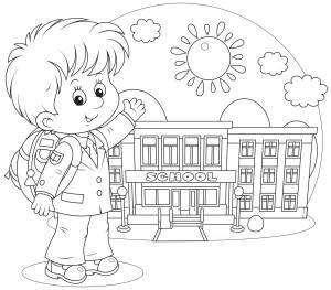 Раскраска ученика, идущего в школу