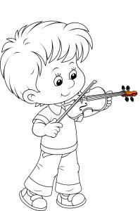 Маленький мальчик скрипач, раскраска