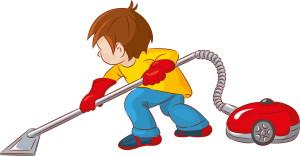 мальчик с красным пылесосом