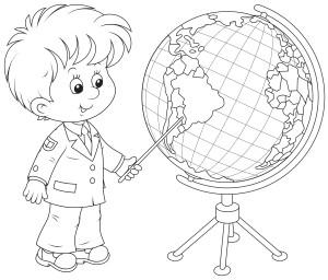 Мальчик на глобусе показывает Южную Америка