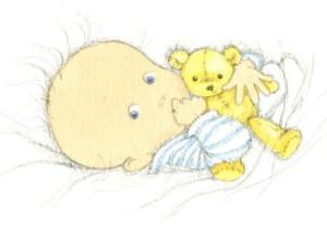 Иллюстрация малыша, который лежит в кроватке