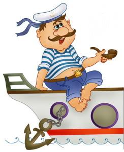 Рисунок корабля и капитана в тельняшке и с трубкой