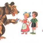 Медведь детей угощает конфетами