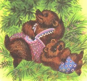 Медвежонок и медведица отдыхают