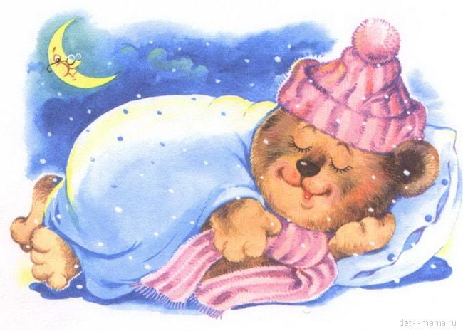 Мишка-лежебока спит в берлоге и все проспал