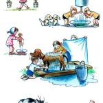Дети умываются и моют животных