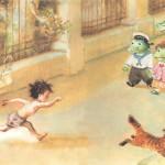 Мальчик бегает по парку и крокодил мойдодыр