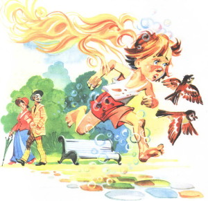 мойдодыр иллюстрациямальчик убегает от мочалки