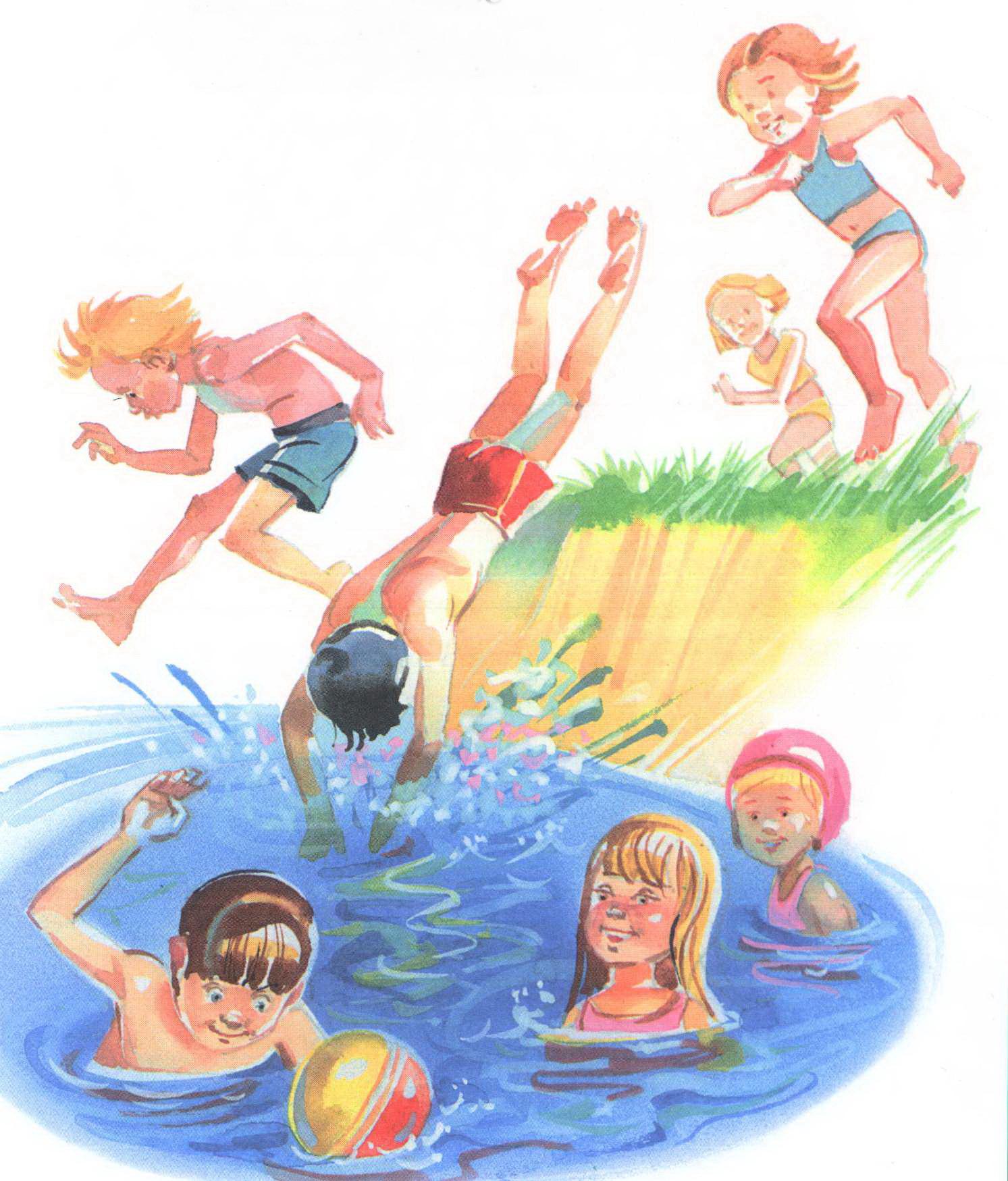 Дети плещутся в воде