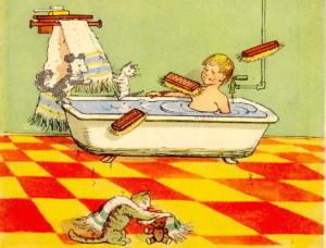 Мойдодыр, мальчик моется в ванне