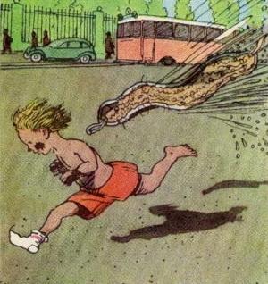 Мойдодыр, ребенок убегает от мочалки