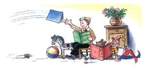 Мальчик с книжками и игрушками