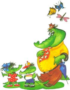Рисунок доброго крокодила с детьми