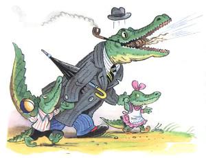 рисунок крокодила с детками