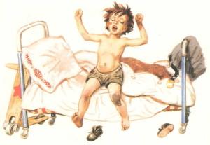 Мальчик грязнуля подтягивается на кровати