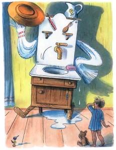 Умывальник и ребенок из сказки Мойдодыр Чуковского
