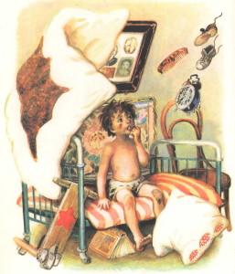 От мальчика убегает одеяло, простыня