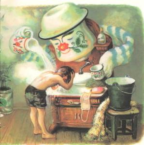 Мойдодыр моет мальчика в умывальнике Чуковский