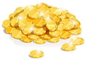 Золотые монетки рисунок