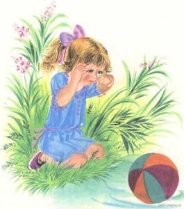 Девочка и мячик рисунок