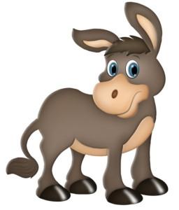 Серенький ослик с большими ушами