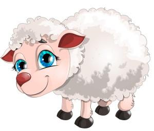 белая овца с большими голубыми глазами