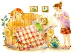 Иллюстрация к стихотворению Петя утомлен Барто