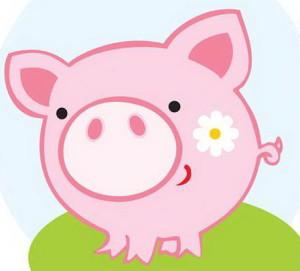 розовая свинка с большим пяточком