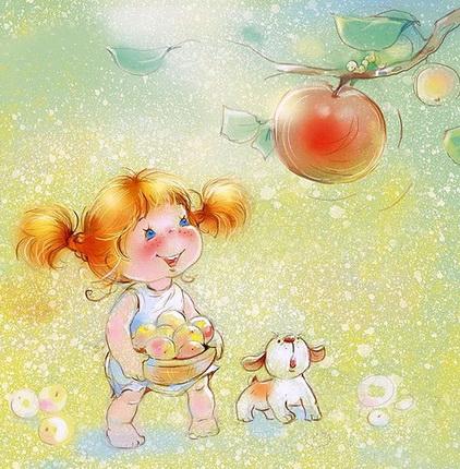 Девочка с яблоками