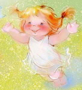 Иллюстрация девочки с разведенными руками в сторону