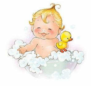 иллюстрация ребенок купается в пене с уточкой