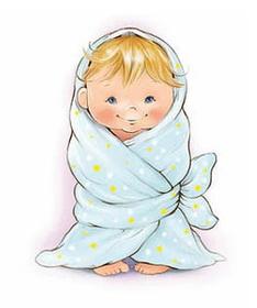 Иллюстрация малыш в одеяле
