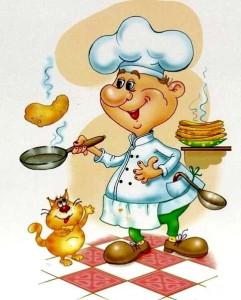 Повар на кухне, блинчики, сковородка, черпак, котик