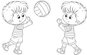 Мальчики играют в волейбол