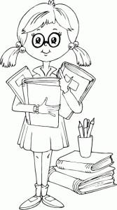 Раскраска девочки с книгами и карандашами