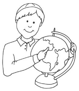 Раскраска мальчика с глобусом