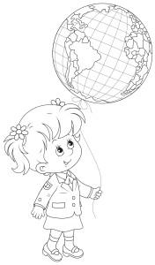 Ученица в школьной форме и красивый воздушный шар, раскраска