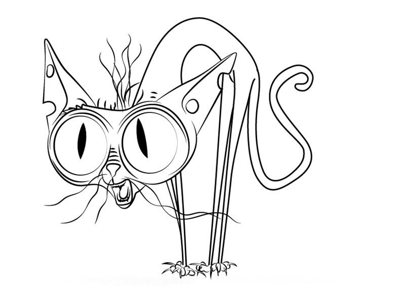 раскраска забавного кота сфинкса