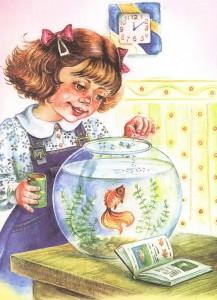 Девочка и аквариум с рыбкой